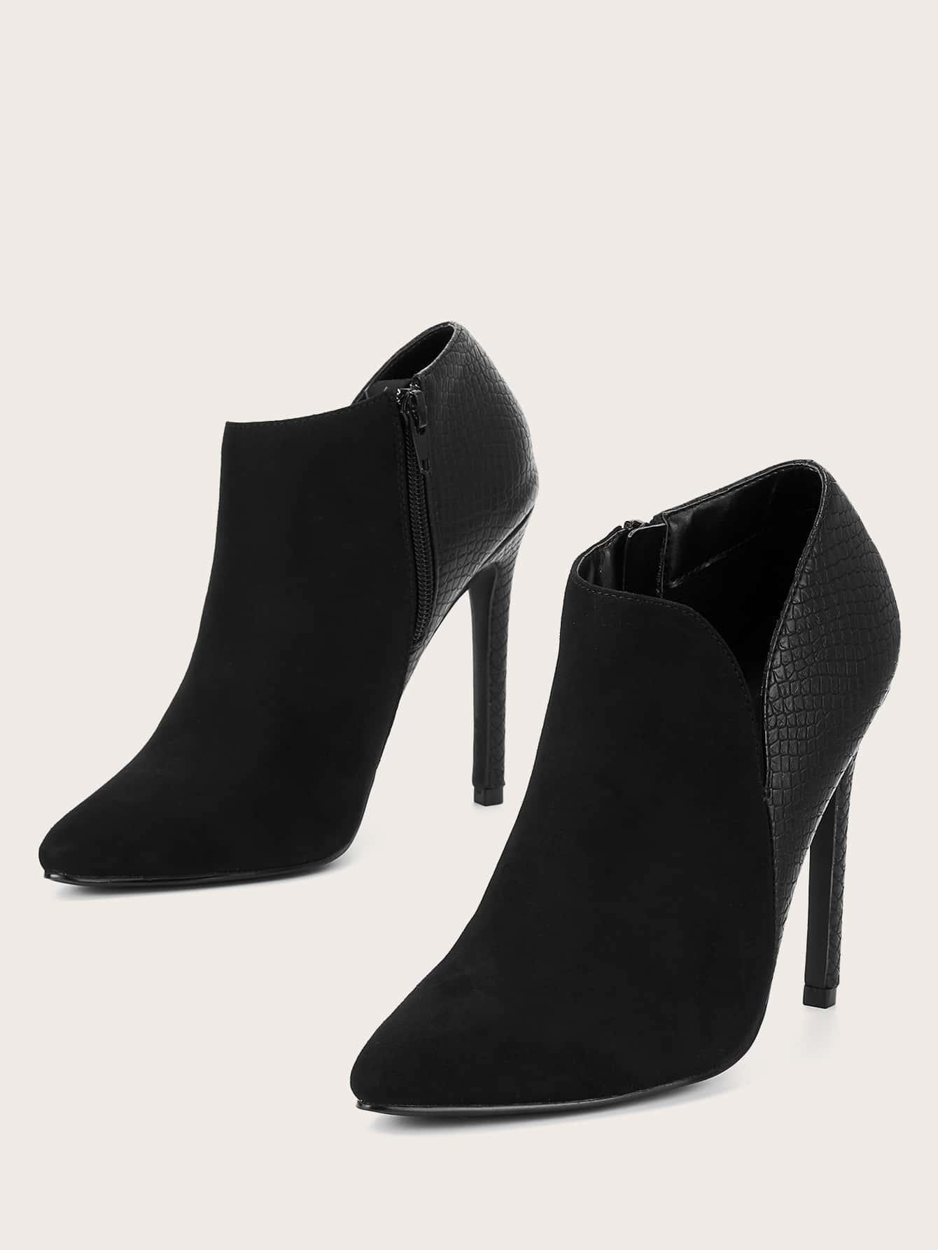 Suede Point Toe Stiletto Heeled Booties