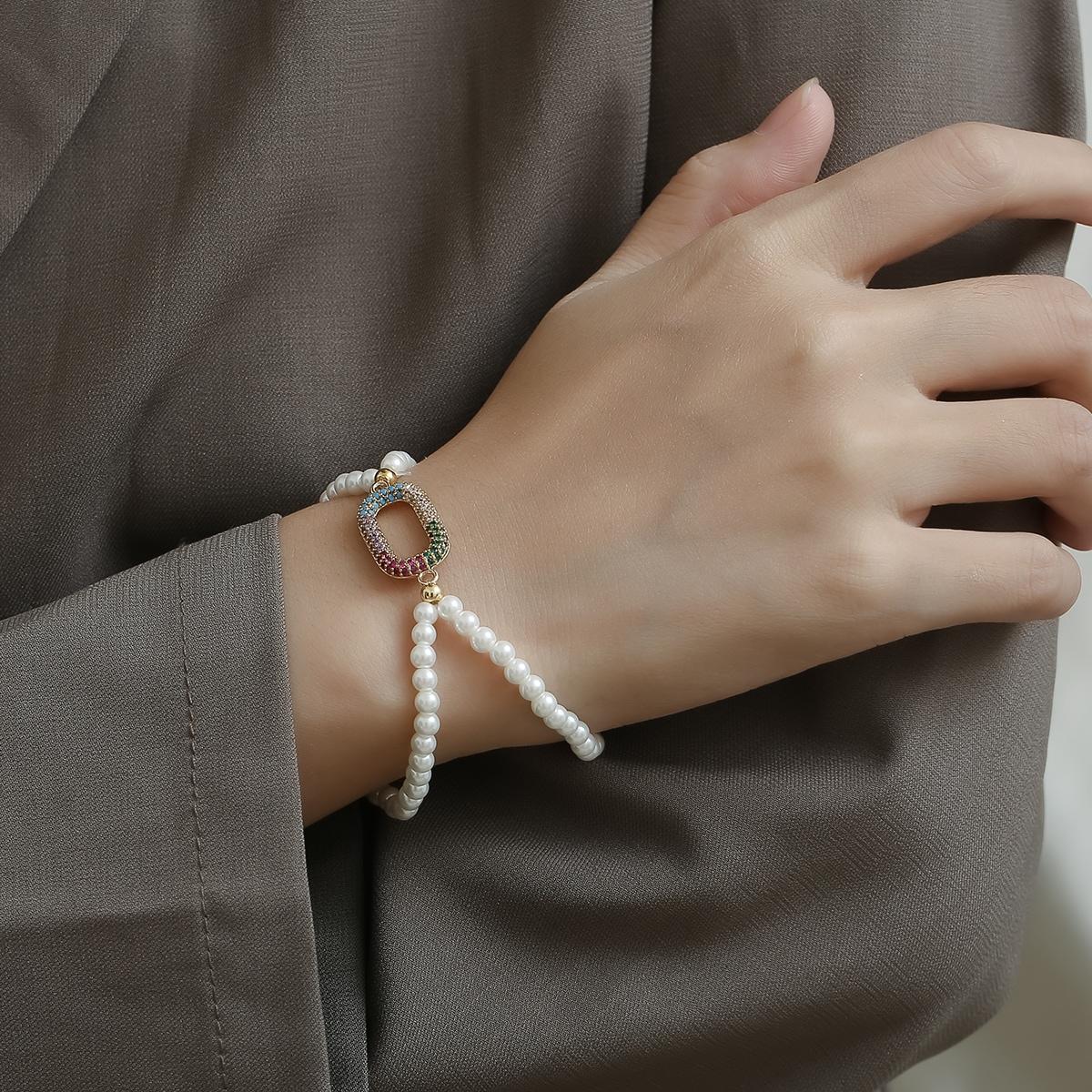 Zircon Decor Faux Pearl Beaded Bracelet, SHEIN  - buy with discount