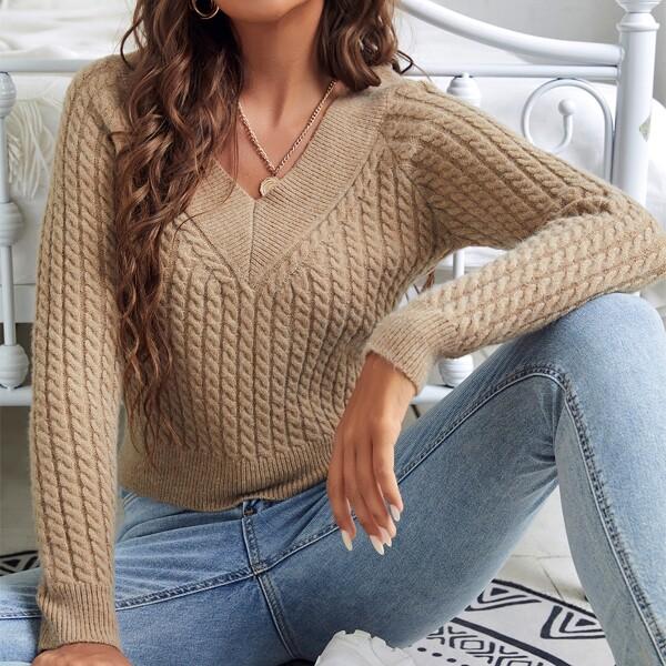 V Neck Raglan Sleeve Cable Knit Sweater, Camel