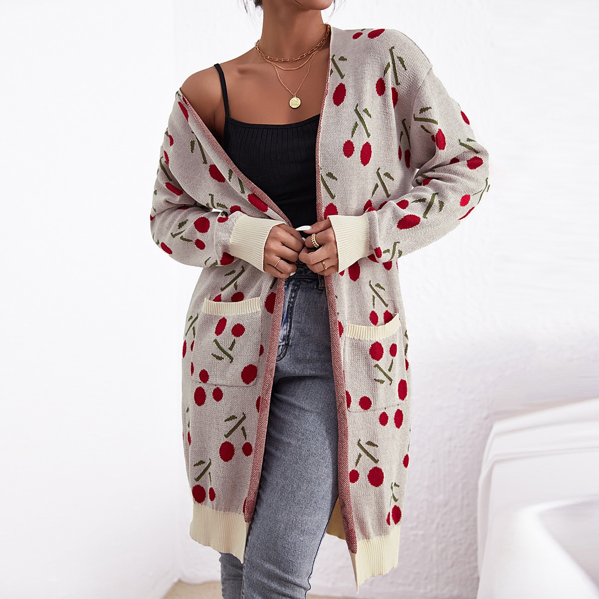 Cherry Pattern Pocket Patched Cardigan, SHEIN  - buy with discount