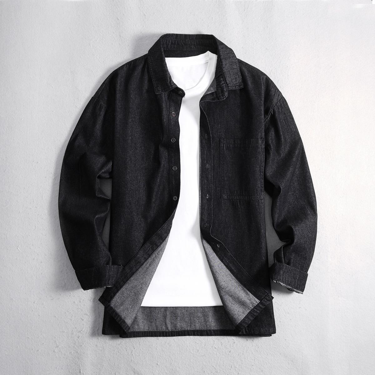 1шт мужская джинсовая рубашка на пуговицах и карманом