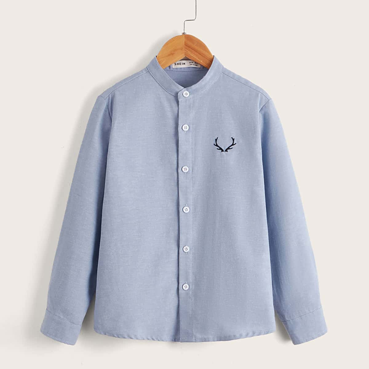 для мальчиков Рубашка оленьи рога вышивкой на пуговицах