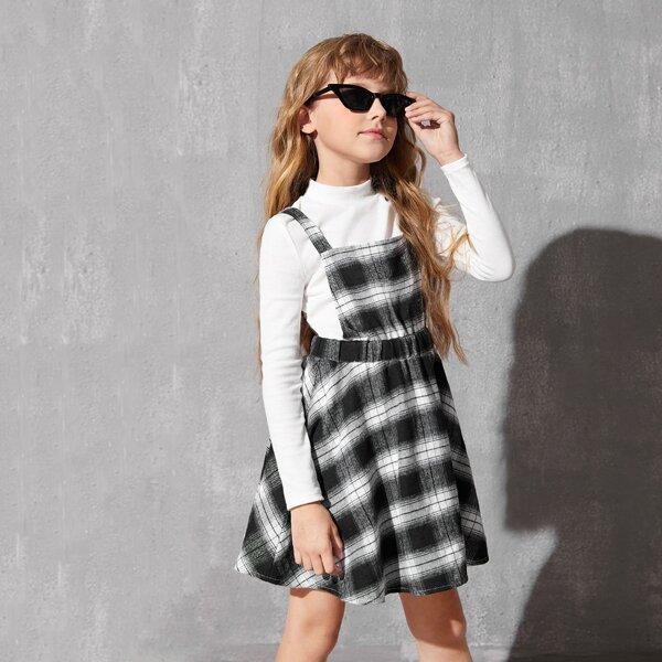Girls Mock Neck Ribbed Knit Top & Tartan Print Pinafore Dress, Black