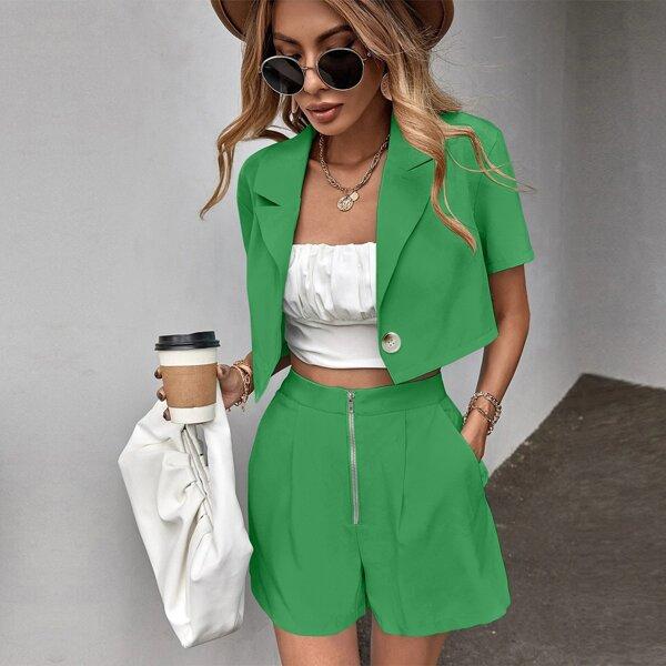 Lapel Neck Single Button Blazer & Zip Up Shorts, Green