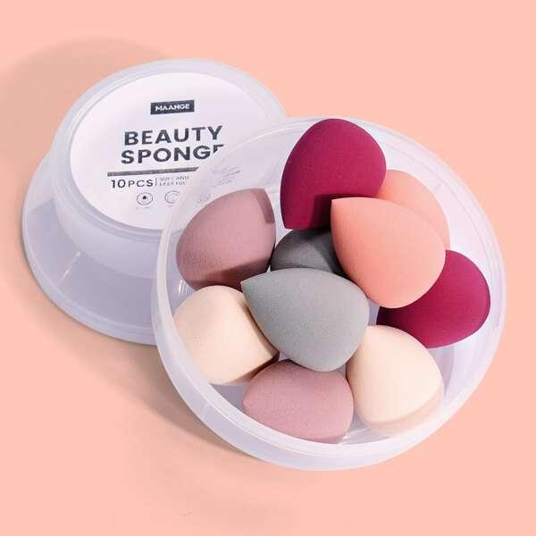 10pcs Makeup Sponge Set, Multicolor