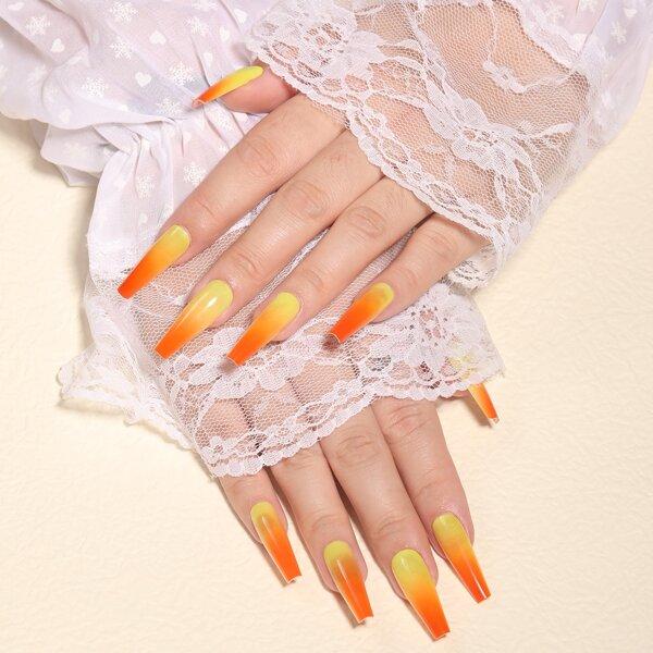 24pcs Ombre Fake Nail & 1pc Nail File & 1sheet Tape, Coral orange