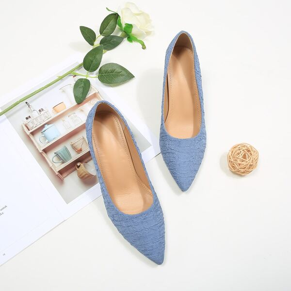 Minimalist Ruched Chunky Court Heels, Blue