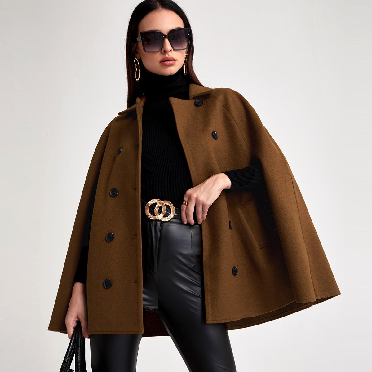 Cloak Sleeve Double Breasted Overcoat
