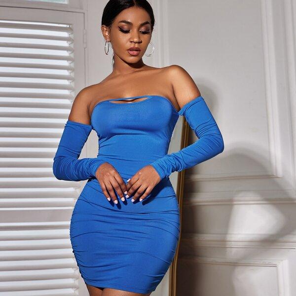 Off Shoulder Peekaboo Ruched Bodycon Dress, Blue