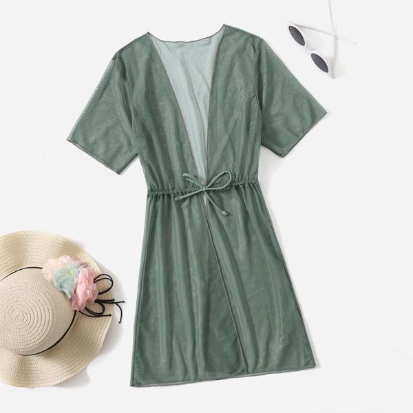Girls Tie Front Kimono, Olive green