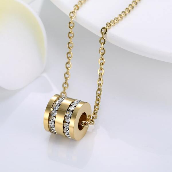 18K Gold Plated Zircon Detail Pendant Necklace
