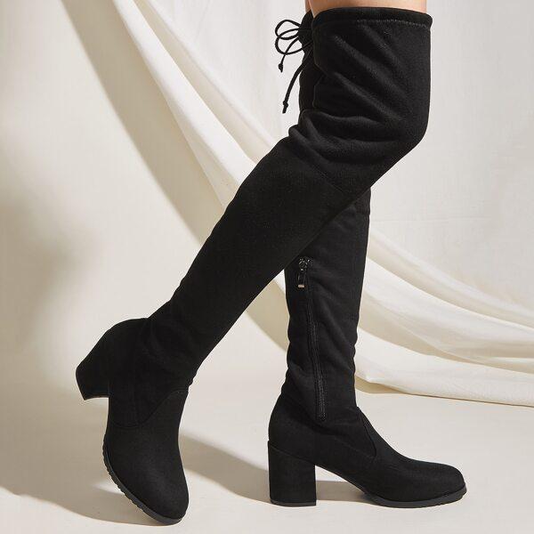 Minimalist Lace Up Decor Chunky Heeled Boots, Black