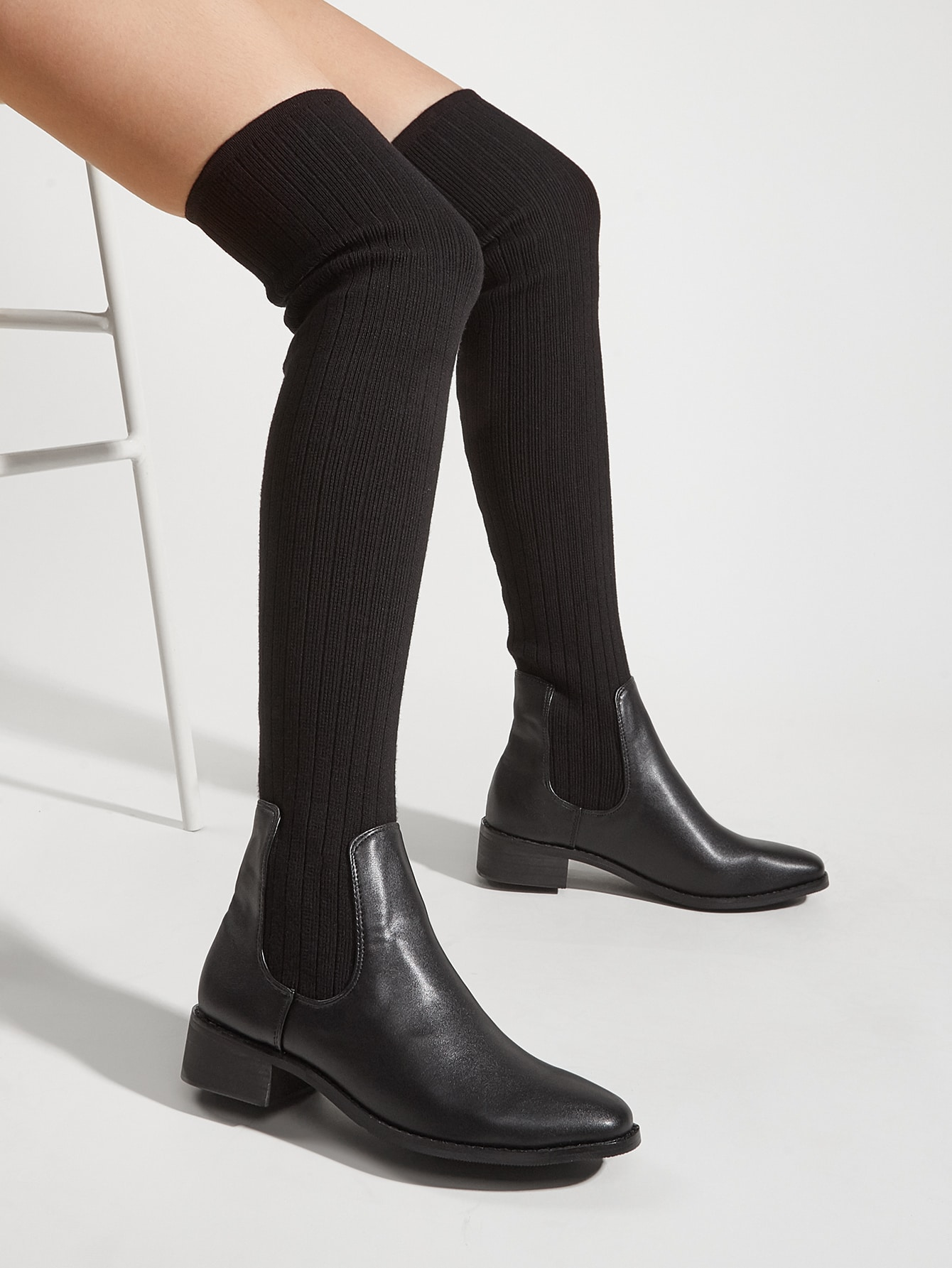 Minimalist Slip On Chunky Sock Boots
