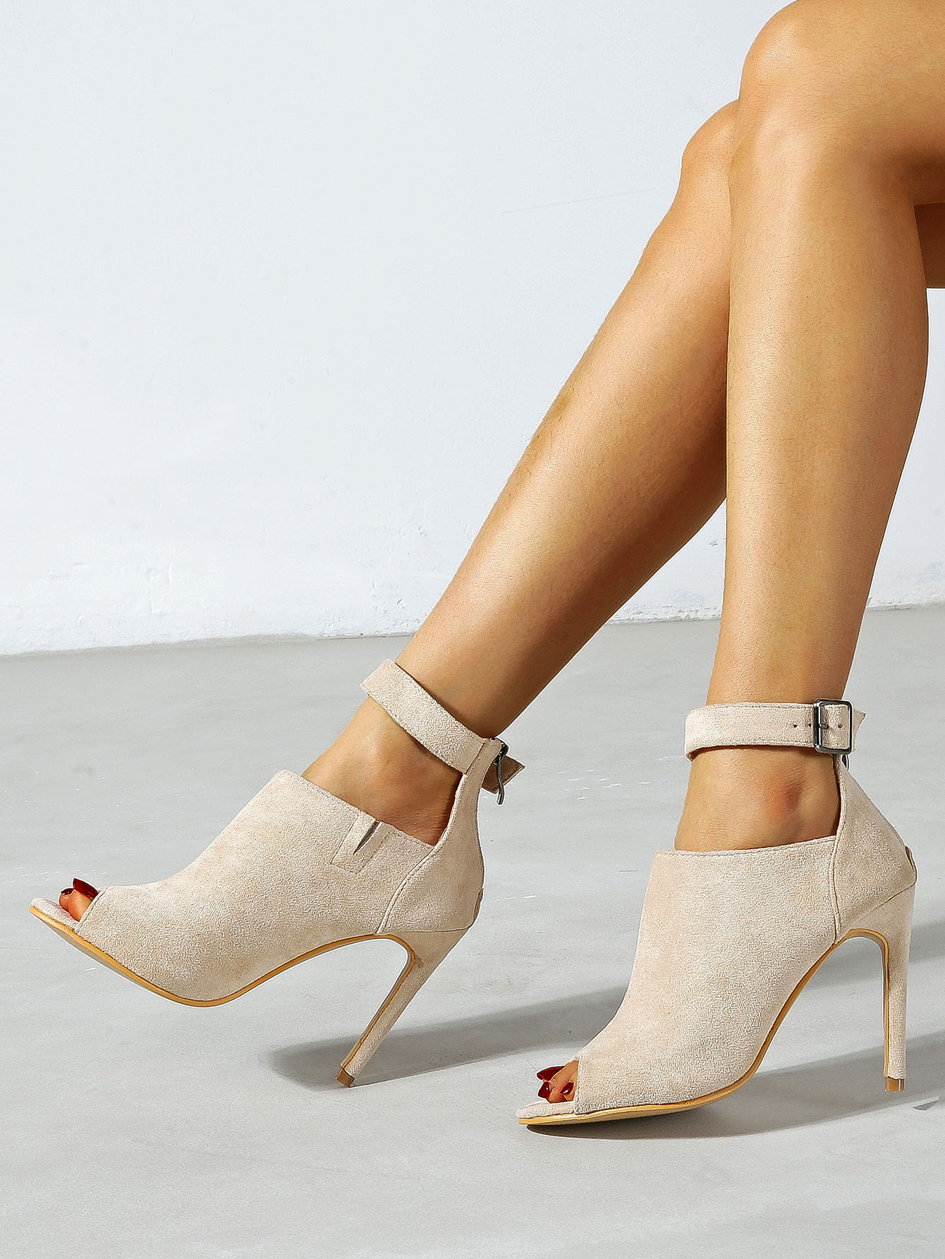 Suede Peep Toe Ankle Strap Heeled Sandal Boots