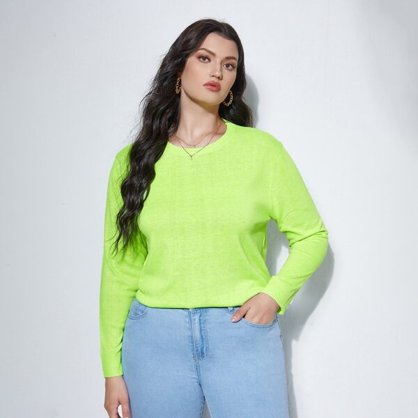 Plus Neon Lime Round Neck Sweater, Lime green