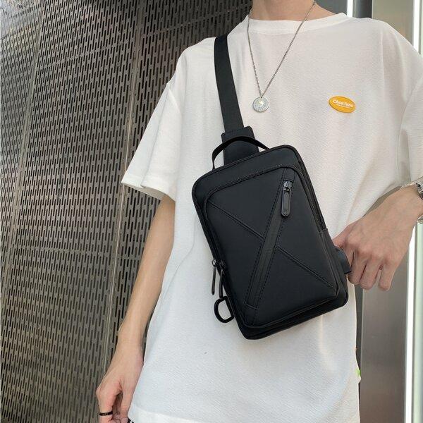 Men Zip Front Stitch Detail Sling Bag, Black