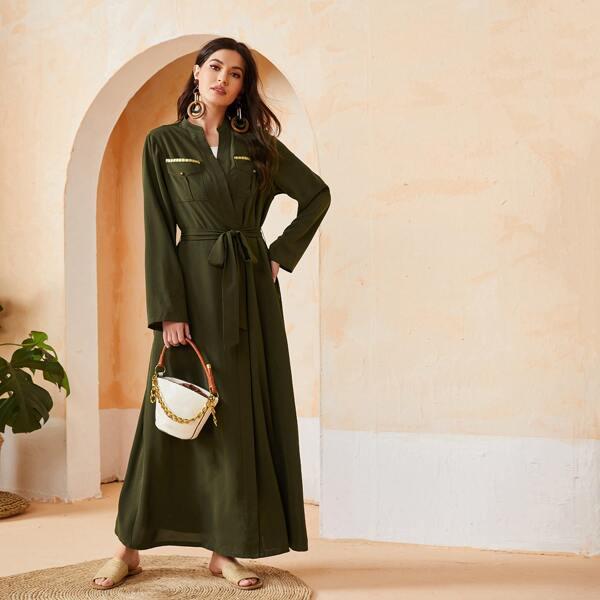 Flap Pocket Belted Abaya, Army green