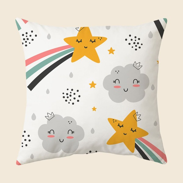Cartoon Graphic Kids Cushion Cover Without Filler, Multicolor