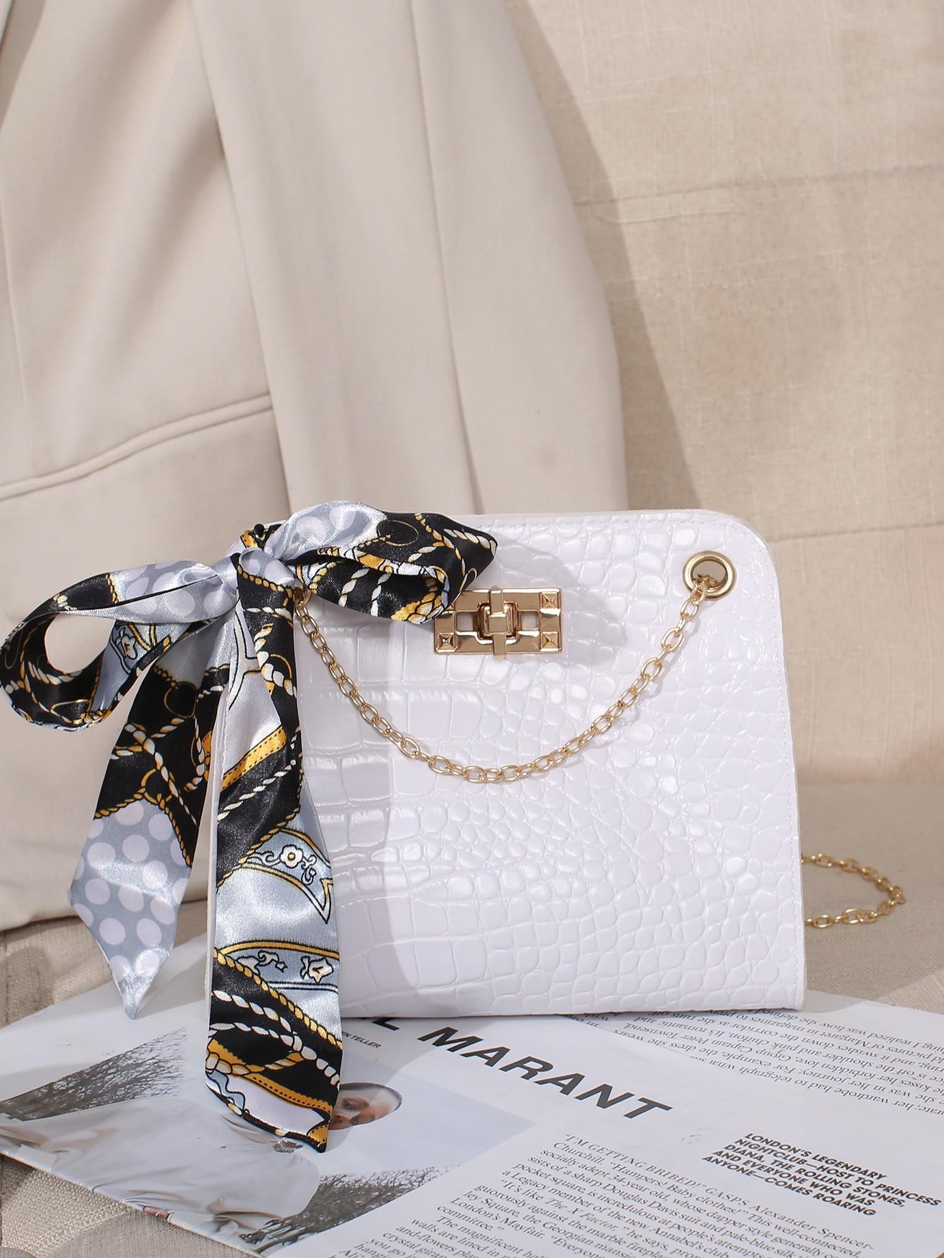 Scarf Bow Decor Croc Embossed Chain Shoulder Bag