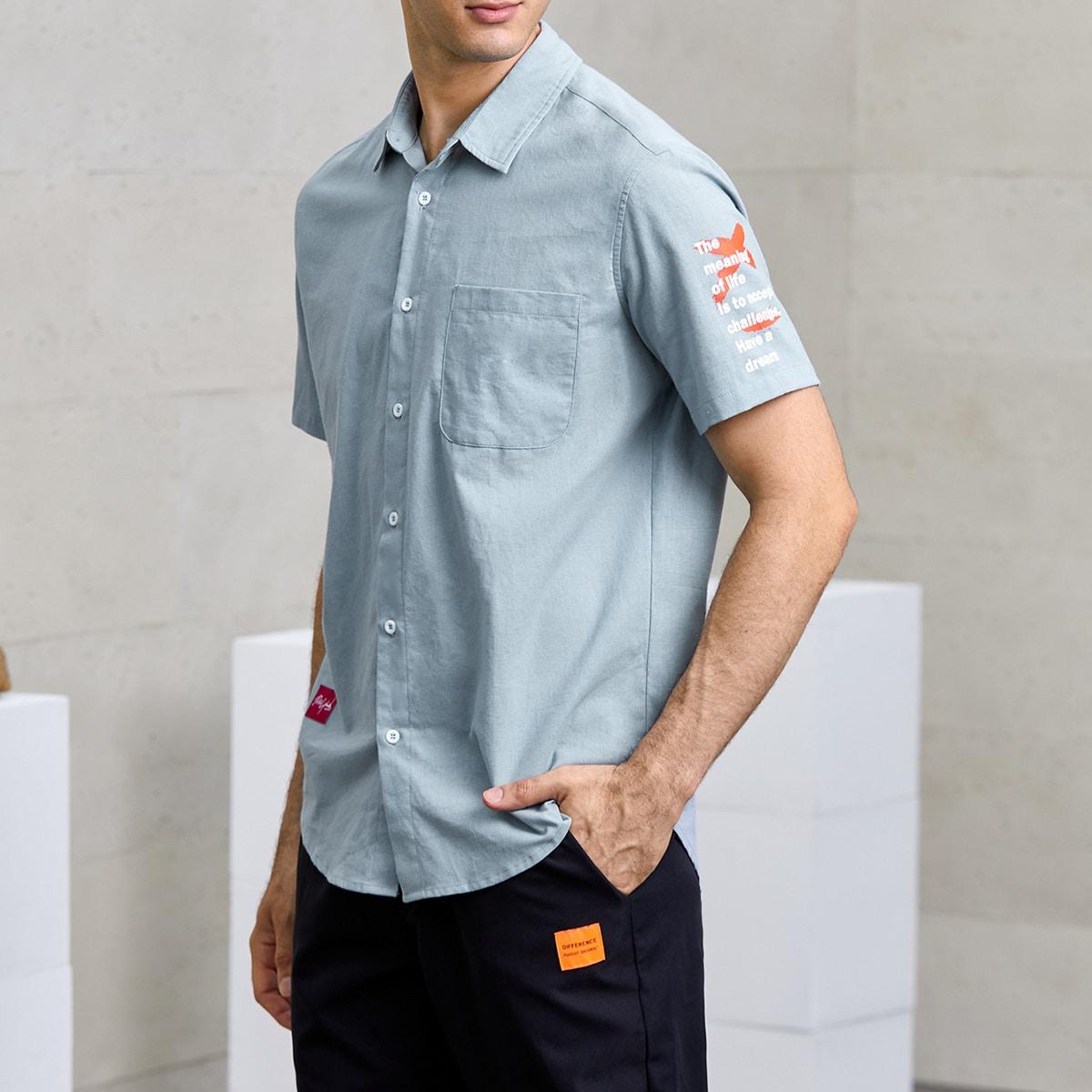 Мужской Рубашка с текстовым принтом с краманом