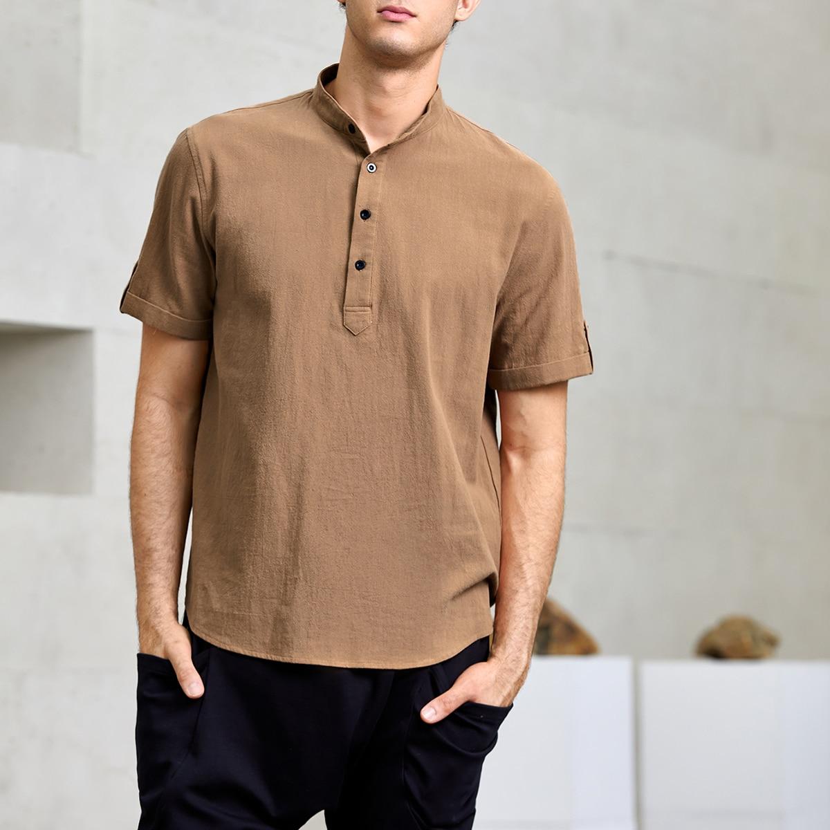 Мужской Рубашка с рулонными рукавами однобортный
