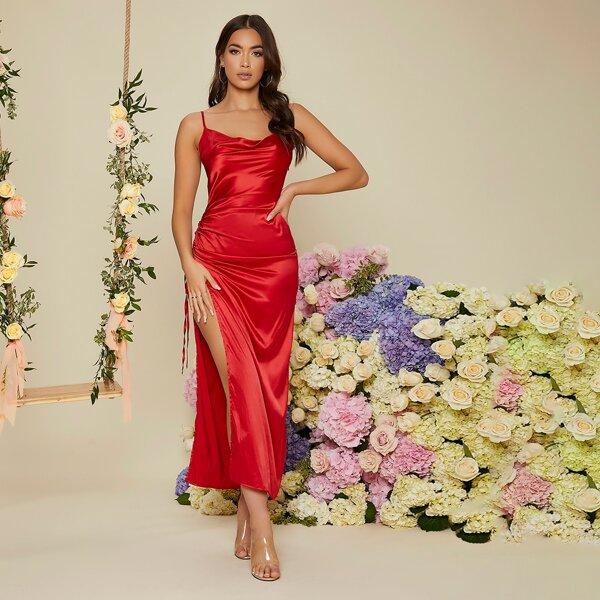 Drawstring Side Draped Collar Slit Thigh Satin Prom Dress, Red