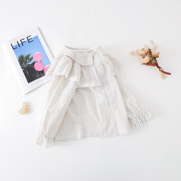 Girls Statement Collar Polka Dot Print Flounce Sleeve Blouse, White