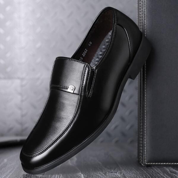 Men Stitch Detail Dress Shoes, Black