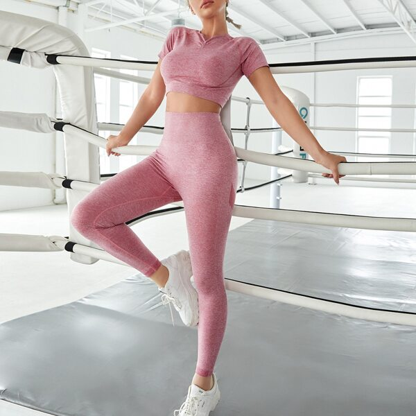 Solid Seamless Sports Tee & Leggings, Dusty pink