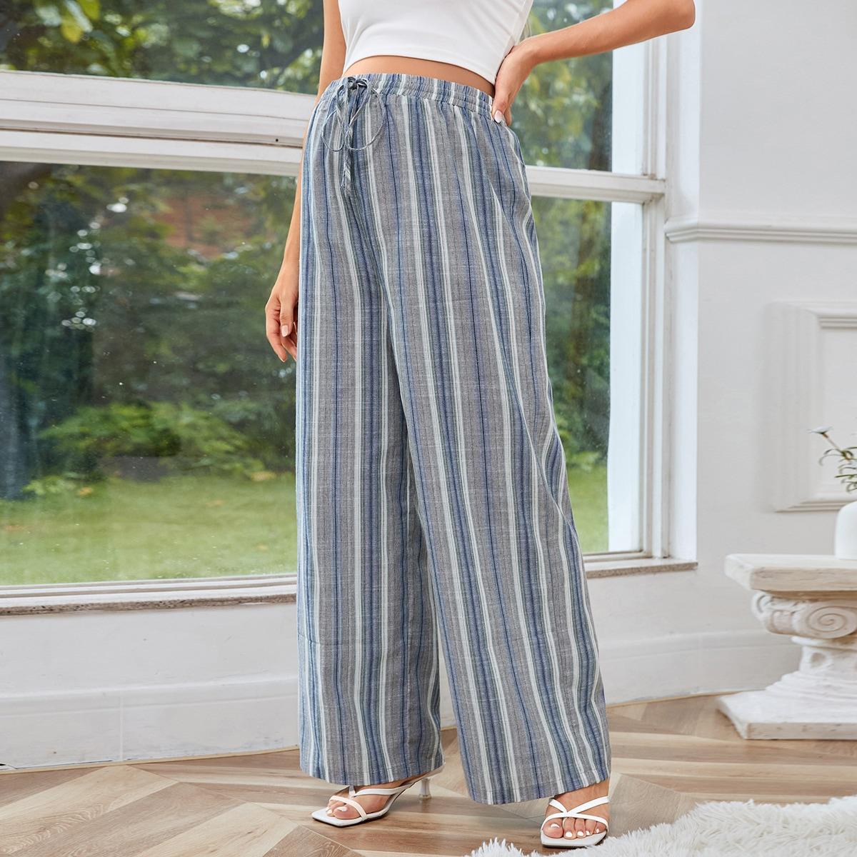 Maternidad Pantalones de pierna ancha de rayas de cintura con cordón