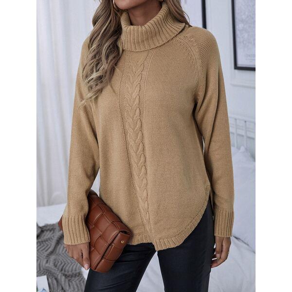 Turtleneck Raglan Sleeve Cable Knit Sweater, Camel