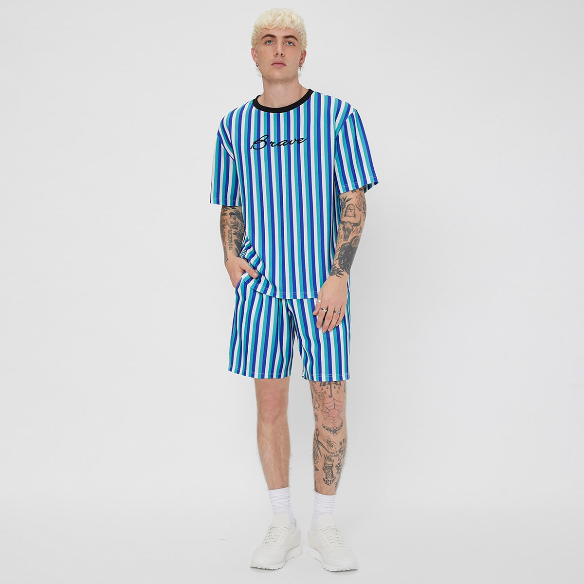 Men Letter Graphic Striped Tee & Shorts, SHEIN  - buy with discount