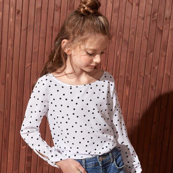 Girls Polka Dot Print Blouse, White