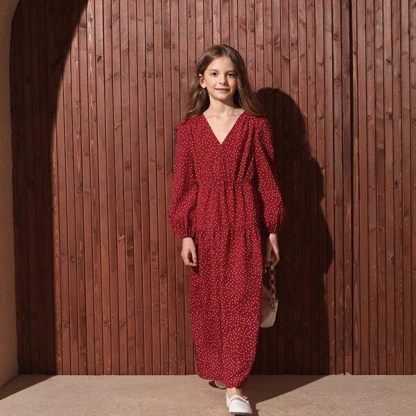 Girls Polka Dot Lantern Sleeve Ruffle Hem Dress, Burgundy