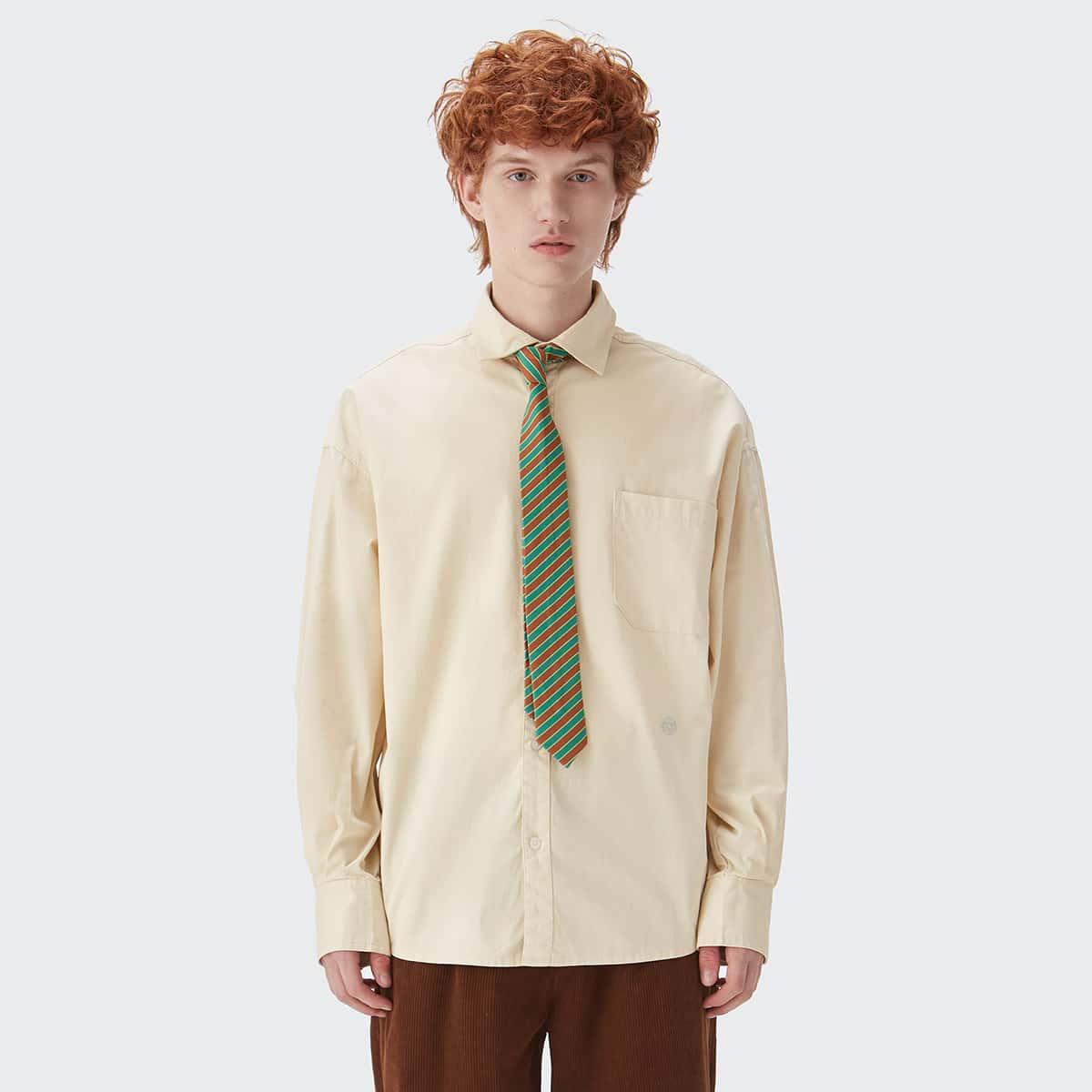 Мужской Рубашка с карманом узором вышивкой без узлом