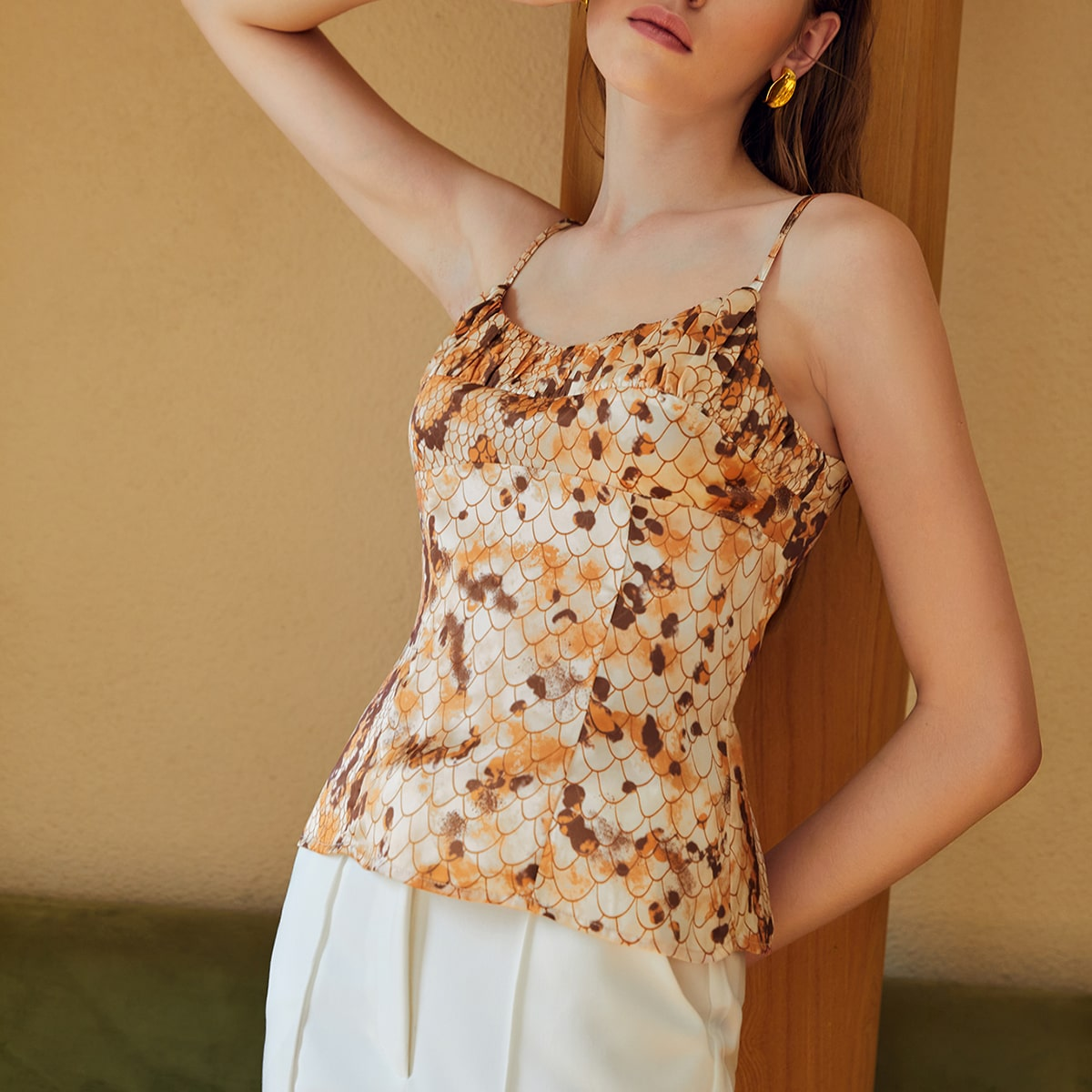 Fish Scales Ruched Cami Top