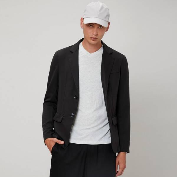 Men Solid Lapel Neck Button Front Blazer, Black