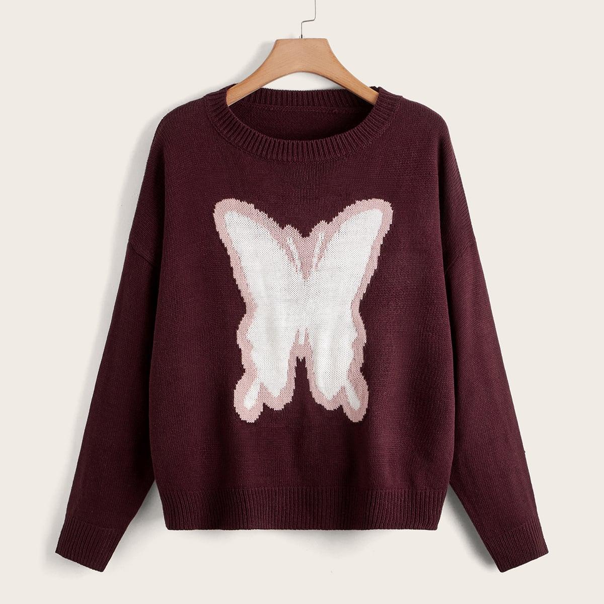 размера плюс Свитер с узором бабочки