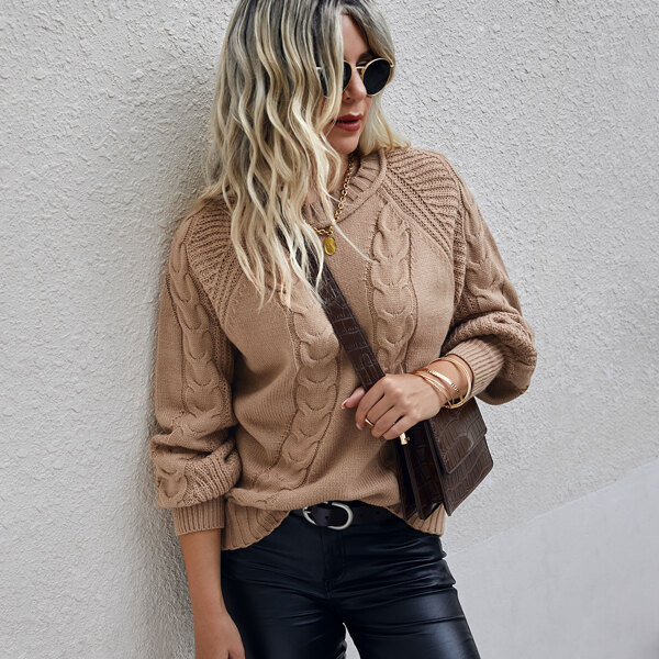Raglan Sleeve Cable Knit Sweater, Camel