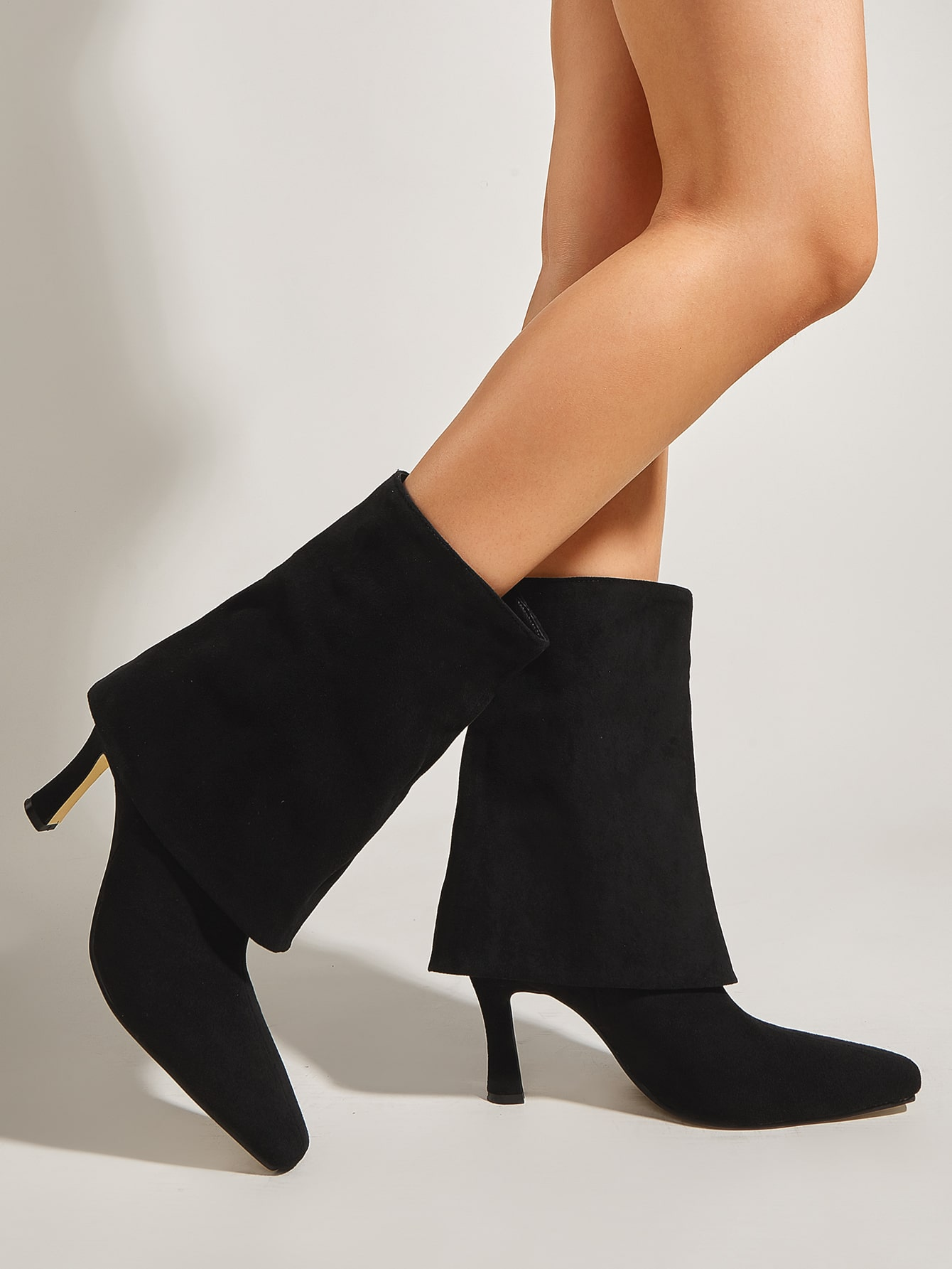 Suede Point Toe Stiletto Heeled Boots
