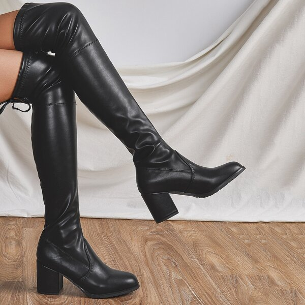 Minimalist Chunky Heeled Boots, Black