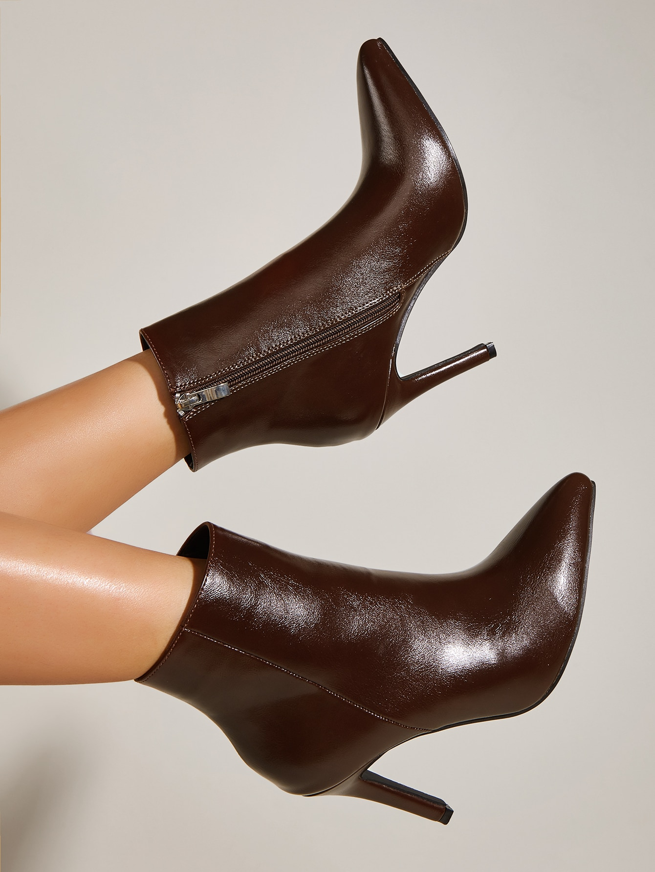 Side Zip Point Toe Stiletto Heeled Classic Boots