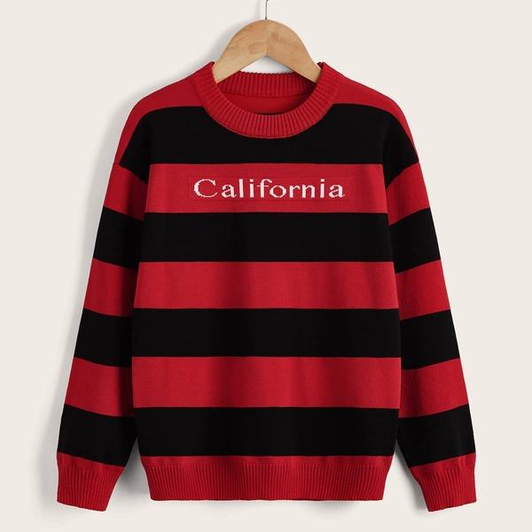 Boys Letter Pattern Color Block Drop Shoulder Sweater, Multicolor