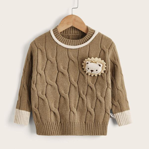 Toddler Girls Lion Patched Cable Knit Sweater, Camel