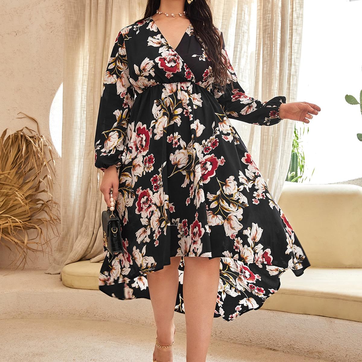 Plus Floral Print Lantern Sleeve High Low Hem Dress