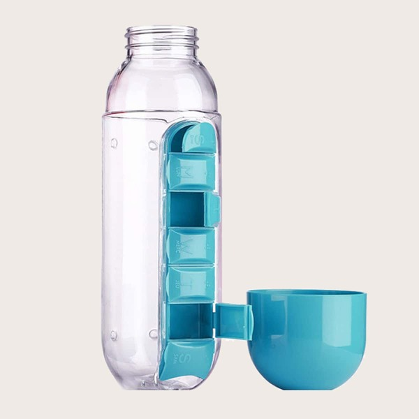 1pc Portable Water Bottle With Pill Box, Blue