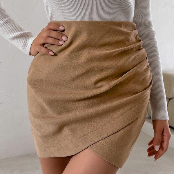 High Waist Zip Back Ruched Wrap Skirt, Camel