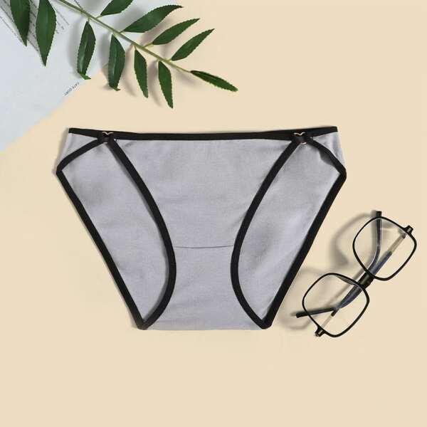 Contrast Binding Sports Panty, Light grey