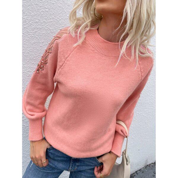 Pearls Contrast Mesh Raglan Sleeve Sweater, Coral pink