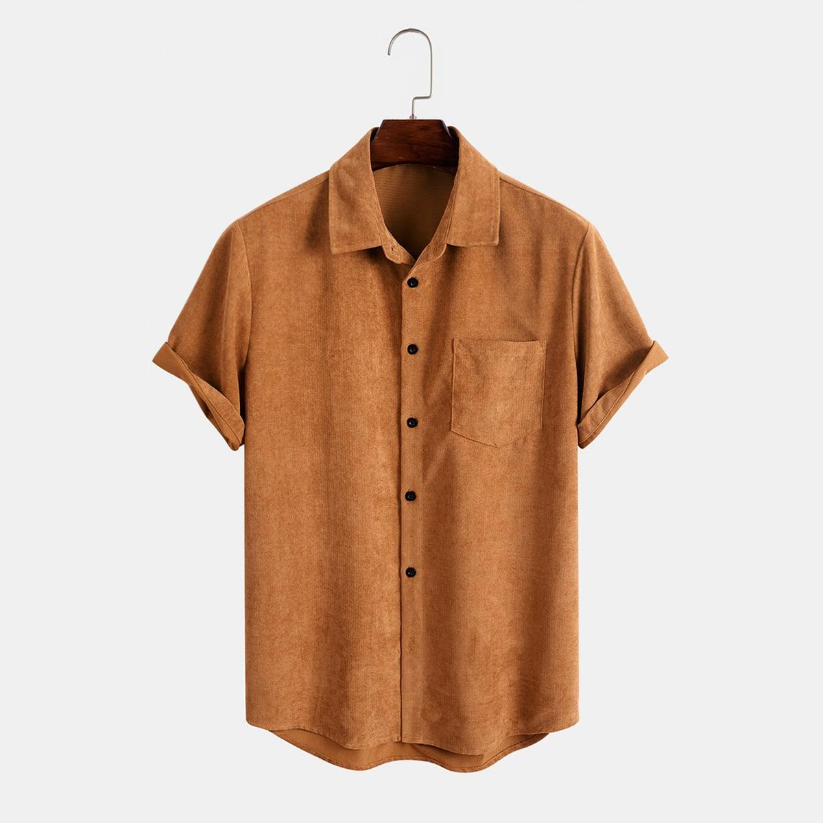 Мужской Рубашка с карманом на пуговицах